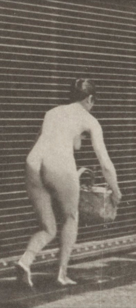 Nude woman taking basket from head