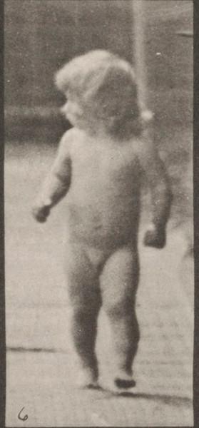 Nude child walking