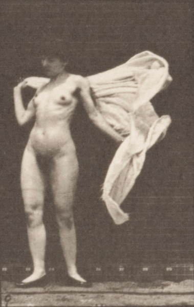 Nude woman inside toilet, stooping and throwing a wrap around shoulders