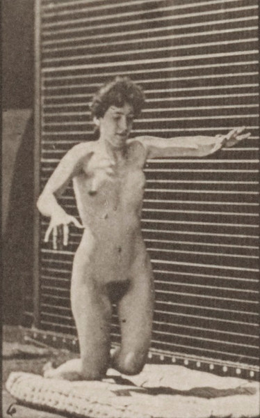 Nude woman stumbling and falling on the ground