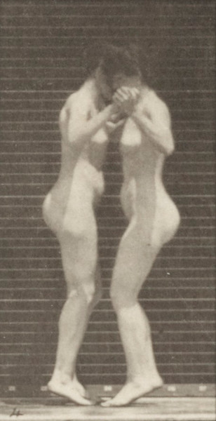 Two nude women dancing a waltz