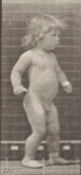 Nude child walking