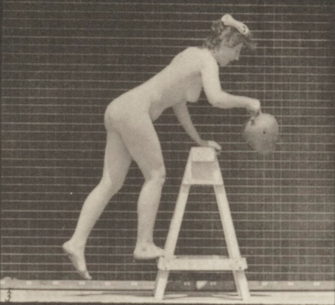 Nude woman bending over a trestle with a water jar