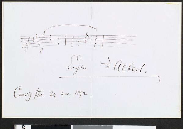 Eugene d'Albert, note, 1892 Nov. 24, Coswig, Germany