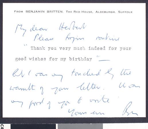Benjamin Britten, note, [s.d.], Aldeburgh, Suffolk, England, to Herbert