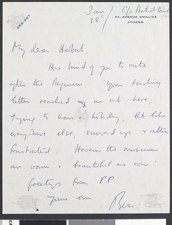 Benjamin Britten, letter, Jan. 28, Athens, Greece, to Herbert