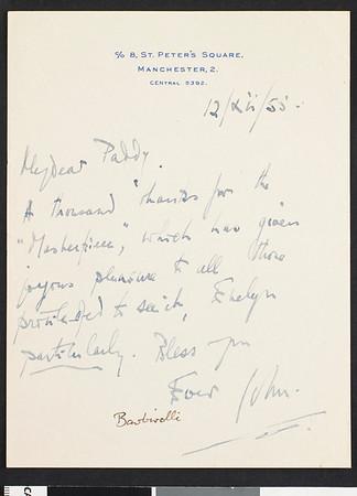 John Barbirolli, letter, 1955 December, London, England, to Paddy