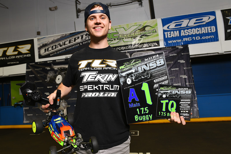 Toddie Anderson, 19, of Rutland, winds first in 17.5 buggy A-Main on Sunday during the JConcepts Indoor Summer National's at RC Excitement in Fitchburg.  Sentinel & Enterprise Jeff Porter