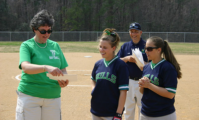 Dr. Crowther, presents certificates to Maria Passaguluppi and Kathryn Brann for being the catalysts in the formation of the softball program at RCC in 2006, at the new field in March 2007.