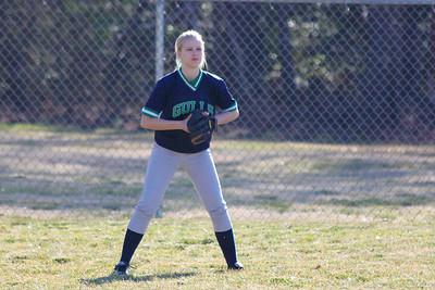 Liesel Schram, in her first softball game.