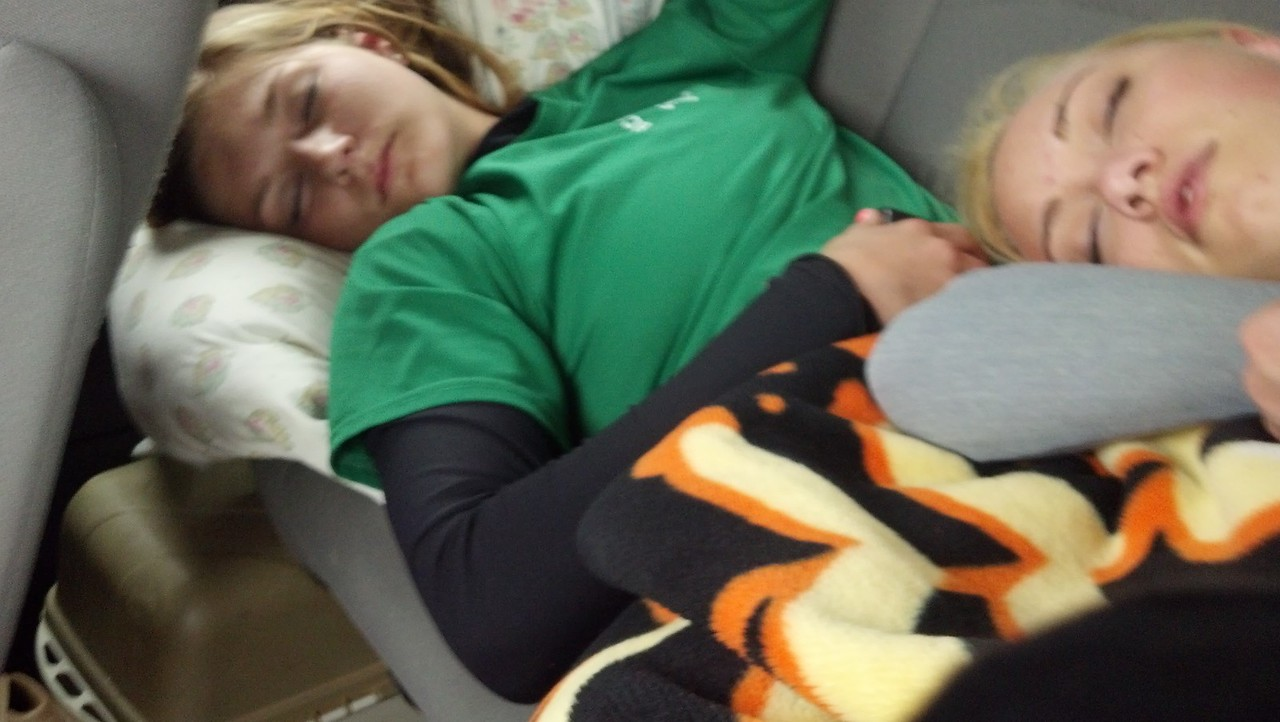 Road trip to Baltimore to play CCBC Dundalk.......Caitlin and Spencer in dream land.