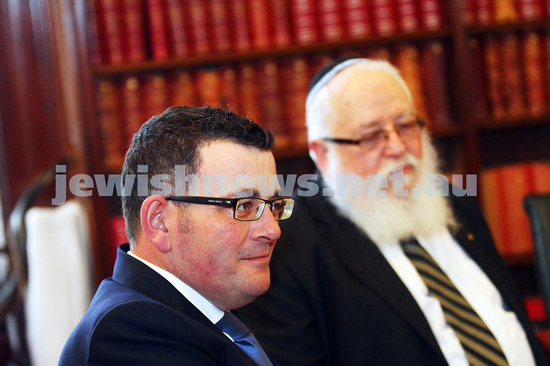 3-9-15. RCV. Members of the Rabbinical Council of Victoria meet with Premier Daniel Andrews in the lead up to Rosh Hashana. Photo: Peter Haskin