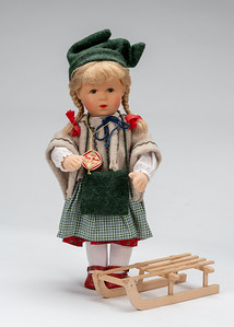 Kathe Kruse Doll with sled 13 inch-1