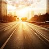 modern city road scene at sunset