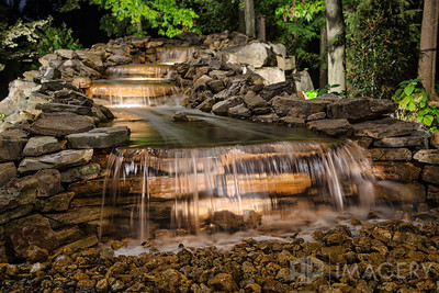 Night Lighting - Backyard Waterfall 1