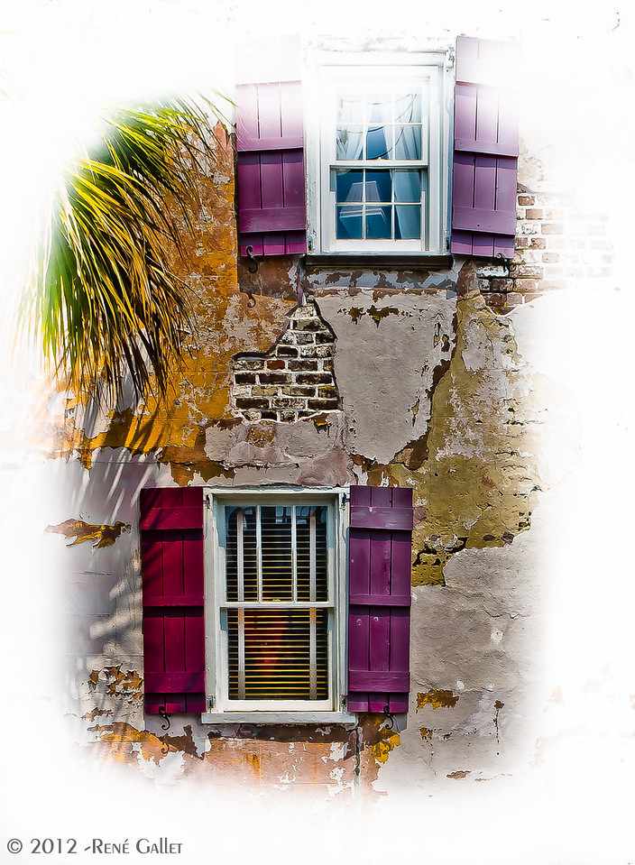"<center><h2>' Magenta Shutters '</h2>  Charleston, NC  12""x16"", Fine Art paper (12 mil) open edition</center>"