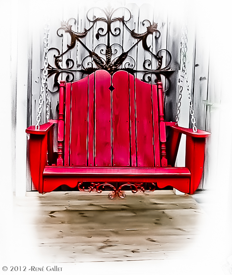 "<center><h2>' Red Porch Swing '</h2>  Blowing Rock, NC  12""x16"", Fine Art paper (12 mil) open edition</center>"