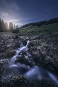 Small mountain stream in twilight