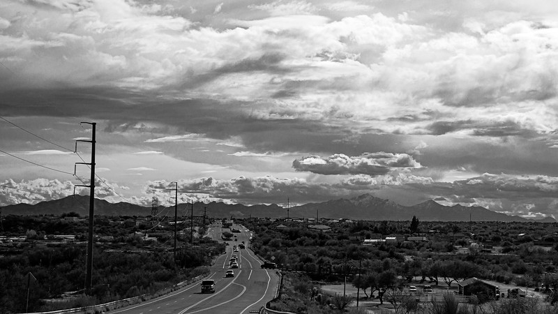 Mt Wrightson (9,456 ft, center right) is part of the Santa Rita Mountains, on the South side of Tucson