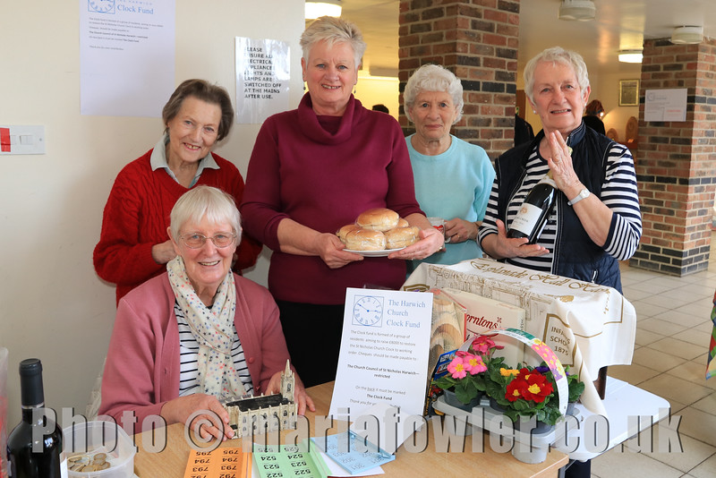 08 FEB 2020 – Pictured 'The Ladies who Do' (Raffle & Refreshments Team) L-R: Chris Mackie (front), Shirley Warner, Rose Rozier, Pam Green & Anna Rendell-Knights.  - St Nicholas Church Clock Fund Craft Fair at The 1912 Centre, Harwich – Photo Copyright © Maria Fowler 2020