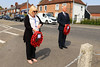 08 MAY 2020 – Pictured: Dale Cheesman (Secretary, Royal British Legion) and Cllr. Ivan Henderson, Deputy Mayor of Harwich – VE Day 75th Anniversary wreath laying at Dovercourt Memorial Cross - Photo Copyright © Maria Fowler 2020