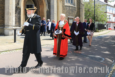 23 MAY 2019 – Pictured: Mace Bearer, John Ford and Mayor of Harwich, Cllr. Alan Todd, Deputy Mayor Cllr. Ivan Henderson and Town Clerk Lucy Ballard.  - Harwich Town Council, Mayor Making – Photo Copyright © Maria Fowler 2019