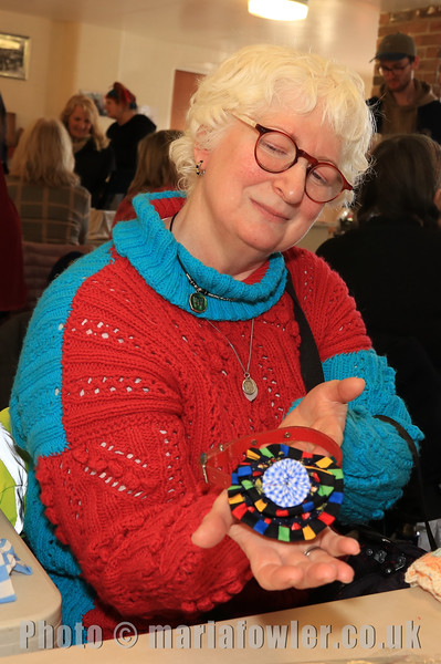 08 FEB 2020 – Pictured: Fiona Seager with decorative dog collar - St Nicholas Church Clock Fund Craft Fair at The 1912 Centre, Harwich – Photo Copyright © Maria Fowler 2020