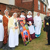 18 SEP 2021 – PICTURED L-R: From Dovercourt Theatre Group, pilgrims Chrissie Donegan, Katherine Johnson, Cath Meachen, Margaret Coleman, Maree Noons and Linda Potter with Cllr. Jo Henderson, Mayoress of Harwich, and Cllr. Ivan Henderson, Mayor of Harwich - St. Nicholas Church, Late Summer Fete  – Photo Copyright © Maria Fowler 2021