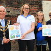 18 SEP 2021 – PICTURED L-R: - Cllr. Ivan Henderson, Mayor of Harwich with Amanda Stone, Poppy Stone and Mary Weston (1st Great Oakley Brownies & Guides) - St. Nicholas Church, Late Summer Fete  – Photo Copyright © Maria Fowler 2021