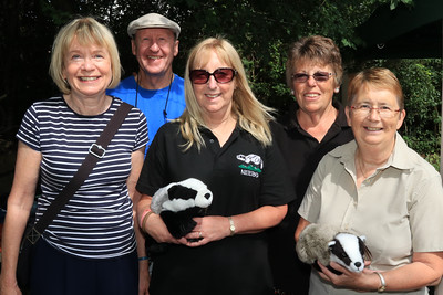 04 AUG 2019 – North East Essex Badger Group – Pictured L-R: - Linda Bailey, Steve Bailey, Gill Hagger, Pauline Green and Elaine Symons  - Bobbit's Hole Open Day & Charity Stroll – Photo Copyright © Maria Fowler 2019