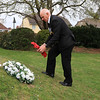 10 APR 2021 - Pictured:  Andy Wells (Royal British Legion, Harwich Branch) Wreath laying at the Mayor's Garden in memory of His Royal Highness the Prince Philip, Duke of Edinburgh, on behalf of all of the residents of Harwich. - Photo Copyright © Maria Fowler 2021