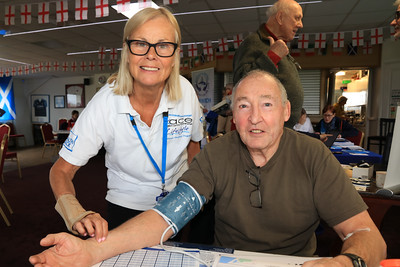 20 FEB 2020 – PICTURED: Vanessa Perkins (ACE) and Tony Gould - CHAPS Men's Health Day (Harwich) at Harwich & Dovercourt Rugby Club - Sponsored by Harwich & District Fellowship for the Sick – Photo Copyright © Maria Fowler 2020