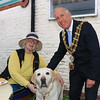 18 SEP 2021 – PICTURED: Fiona Seager and Cllr. Ivan Henderson, Mayor of Harwich with guide dog Thor. - St. Nicholas Church, Late Summer Fete  – Photo Copyright © Maria Fowler 2021