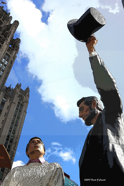 """Return Visit"" by Seward Johnson while in Chicago near Tribune tower"