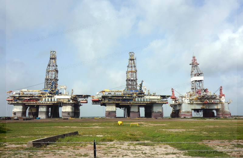 Stacked rigs, Harbor Is, Port Aransas, Tx