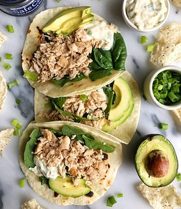 Easy Canned Tuna Tacos with Scallion Crema