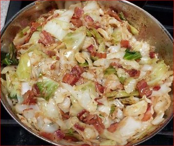Fried Cabbage with Bacon, Onion, and Garlic