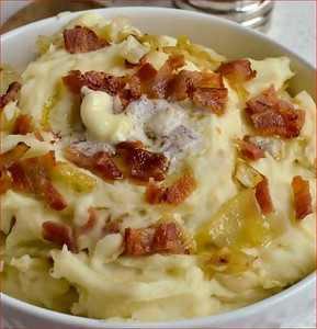 Traditional Irish Colcannon Potatoes and Cabbage