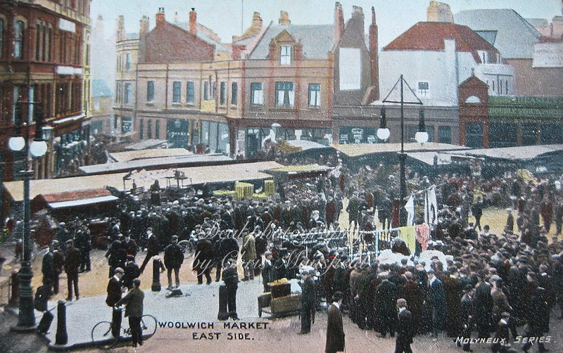 Old postcard Woolwich market east side .. Molyneux press