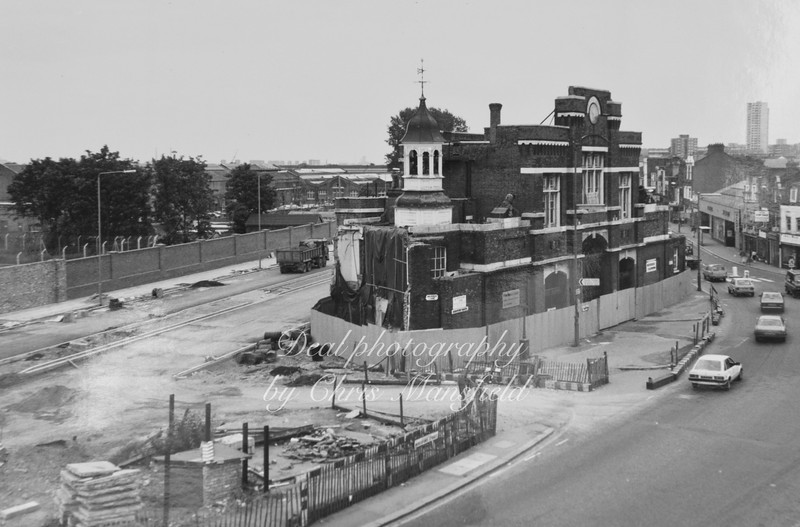 Mid 1980s view showing the rerouting of Plumstead road behind the Arsenal gatehouse