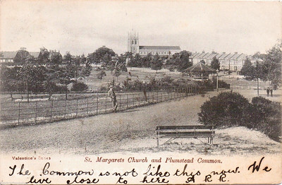 Old Postcard showing Plumstead common, St Margarets church and Bandstand