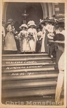 Aug 26th 1911. Wedding at the Wesleyan chapel. Top of Burrage road