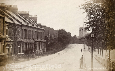 Old Postcard showing St Margarets road and church