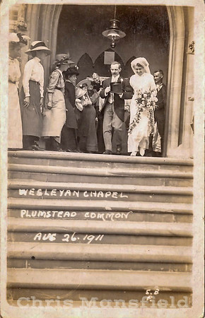 AUG' 26TH 1911.  Wedding at the Wesleyan chapel ,  Top of Burrage road.  The happy couple were Albert William Hickman and Lillian Hall