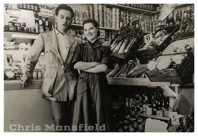 Albert Manchester and his wife in their grocers shop in Herbert road