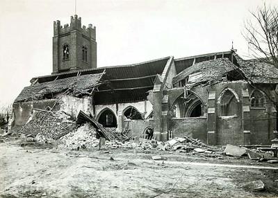 Feb' 9th 1945 .  St Nicholas church after V2 rocket struck