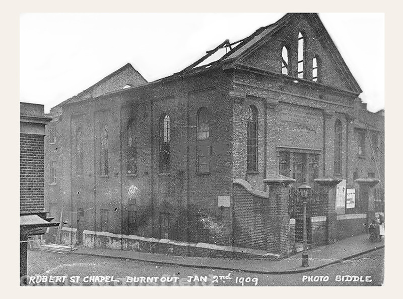 Old Postcard, Robert st chapel burnt out