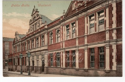 Old Postcard,  Woolwich Public Baths in Bathway
