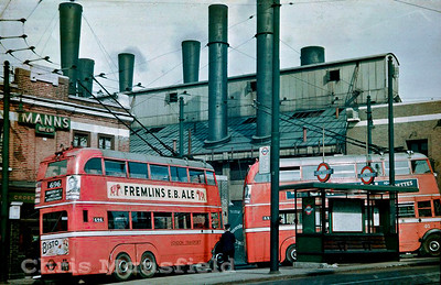 Approx' 1938.. Trolley buses at Market hill