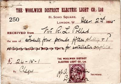 Dec 2nd 1895.. Electric Bill